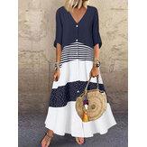 Bohemio Lunares Rayas Color de contraste Estampado Patchwork Vacaciones Maxi Vestido