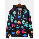 Mens Colorful Luminous Halloween Sweatshirt Print Loose Hoodies With Kangaroo Pocket