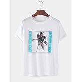 100% coton Coconut Tree T-shirts amples à manches courtes