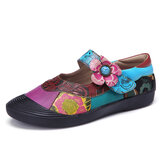 SOCOFY Bohemian Leather Splicing Floral  Toe Cap Hook Loop Ankle Strap Flat Shoes