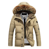 Mens Down Jackets Thick Warm Fur Collar Hooded Parkas Puffer