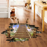 3D Wooden Bridge Living Room Quarto Animais Floor Home Background Decoração de parede Creative Stickers
