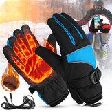 12V Kış Sıcak Elektrikli Isıtmalı Eldivenler Dokunmatik Ekran USB Şarj Motosiklet Su Geçirmez Eldivenler Kayak Rüzgar Geçirmez Eldivenler