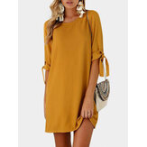 Oversize Women Bowknot Half Sleeve Mini Casual Dress