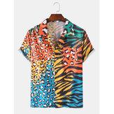 Leopardo colorido Zebra Camisas de férias de lazer de bolso de peito de manga curta de impressão mista