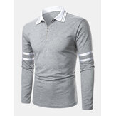 Herre Side Stripe Pastchwork Langærmet Casual Golf Shirts