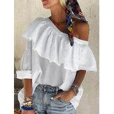 Color sólido Volantes Irregular One Blusa informal de día festivo de hombro para Mujer