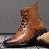Botas masculinas retrô feitas à mão estilo britânico com touca de couro formal