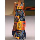 Women Vintage Print V-neck Sleeveless Bohemian Dress