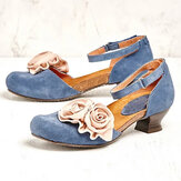 Women Vintage Flower Decoration Round Toe Ankle Strap Hook Loop Casual Heels Pumps