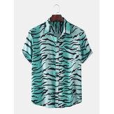 Pánské nové módní tygří vzor tisku košile s krátkým rukávem