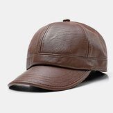 Men Faux Leather Ear Protected Keep Warm Casual Solid Baseball Hat
