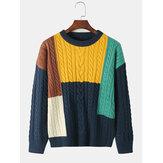 Mens Color Block Rajutan Pullover Sweater Lengan Panjang