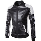 Mens PU Leather Fashion Black White Stitching Motorfiets Biker Jacket Baseball Collar Coat