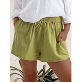 Women Casual Solid Color Elastic Waist Pocket Shorts