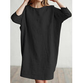 Casual Women Loose Cotton Linen Round Neck 3/4 Sleeve Dress