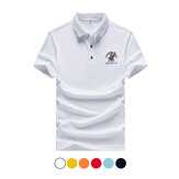 Summer Men's T-shirts Breathable Casual Short Sleeved Lapel Embroidery Top Camping Hiking Travel