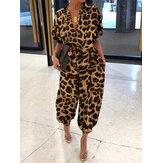 Women Casual Loose Commute Pocket Leopard Print Short Sleeve Jumpsuit