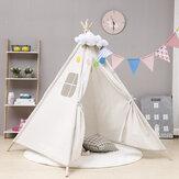 130cm großes Tipi-Zelt Kinder Baumwolle Leinwand vorgeben, spielen Haus Junge Mädchen Wigwam Geschenk