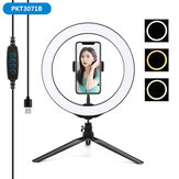 PULUZ PKT3071B 10.2 Inch 3 Modes Dimmable USB LED Ring Light with Desktop Tripod Phone Holder for Photography Vlog Video