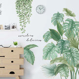 Green Leaves Wall Stickers for Bedroom Living Room Dining Room Kitchen Kids Room DIY Vinyl Wall Decals Door Murals
