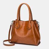 Women Large Capacity Oil Wax Handbag Crossbody Bag Shoulder Bag