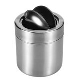 Stainless Steel Windproof Ashtray Smoke Ash Holder Container with Folding Cover for Home Office Car Supplies Desktop Trash Can