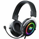 ONIKUMA X10 Wired Gaming Fones de ouvido Estéreo 50MM Redução de Ruído Dinâmico RGB Luminoso 3,5 MM para Gamer Headset com Microfone Destacável