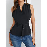 Solid Color V-neck Belted Sleeveless Tank Tops