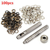 100pcs 8mm Koper Eyelets Hollow Leather Craft Belt Punch Tools Kit