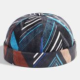 Collrown Men Corduroy Patchwork Color Irregular Stripe Geometric Pattern Fashion Casual Brimless Beanie Landlord Cap Skull Cap