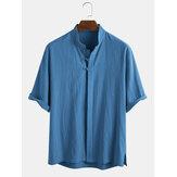 Camicie da uomo a maniche lunghe con collo alto etnico orientale 100% cotone