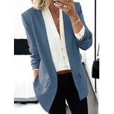 Women OL Classical V-Neck Brief Style Business Casual Blazer With Pocket
