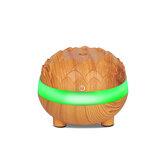 Ультразвуковой увлажнитель воздуха 300мл Wood Grain Quiet Воздухоочиститель Essential Масло Диффузор с 7 цветами LED лампочек