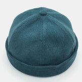 Berretti da uomo in velluto a coste traspiranti Cappelli retrò cranio tinta unita