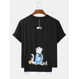 Cute Cartoon Gato Back Print Cotton Round Cuello Camisetas sueltas de manga corta