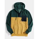 Heren corduroy patchwork hoodies met halve knoop voorzak en lange mouwen