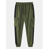 Mens Side Stripe Cotton Casual Drawstring Beam Feet Pants With Flap Pocket