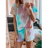 Tie Dye Print Loungewear Set Dradient Short Sleeve Two Piece Pajamas