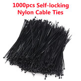 1000pcs 4*200mm Self-locking Nylon Plastic Zip Trim Wrap Network Cable Loop Ties Wire