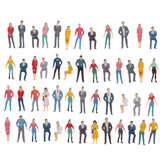 50Pcs 6 Sizes Painted Model People Figure Seated Passenger Kids Toys Gift