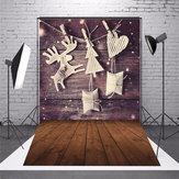 5 x 7 FT Natal tema Natal presente Elk Wood Board foto vinil fundo