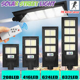 208/416/624/832LED Solar Powered Wall Street Light PIR Motion Sensor Dimmable Lamp + Remote Control