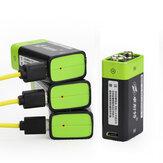 ZNTER S19 9V 400mAh USB Batterie Lipo Rechargeable 9V