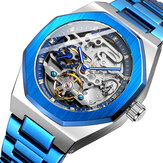 FOSINING FSG8202 Fashon Men Automatic Watch Hollow Dial Luminous Display Stainless Steel Strap Mechanical Watch