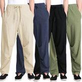 Erkekler İpli Pantolon Keten Pamuk Gevşek Yoga Pantolon Düz Uzun Pantolon Rahat Yürüyüş Spor