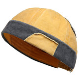 Men Women Leisure Cotton Patchwork French Brimless Hats Adjustable Sailor Cap