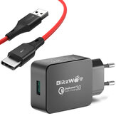 BlitzWolf® BW-S5 QC3.0 18W USB Charger EU Adapter + BW-TC14 3A USB Type-C Charging Data Cable 3ft/0.91m