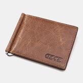 Men 6 Card Slots Cash Clip Genuine Leather Short Wallet