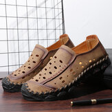 Men Hand Stitching Microfiber Leather Hole Non Slip Casual Flats